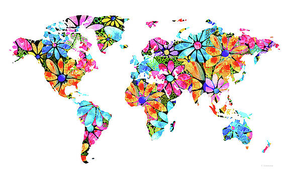 Colorful Floral Map - Flower Power - Sharon Cummings by Sharon Cummings