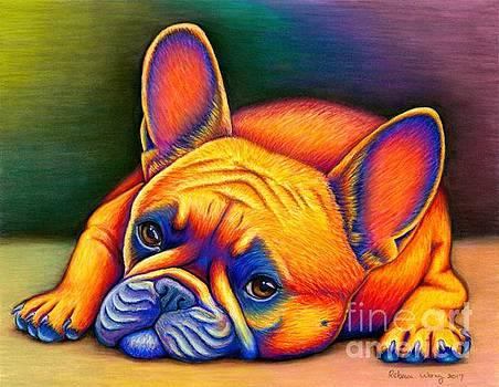 Colorful French Bulldog by Rebecca Wang