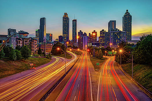 Colorful Night Over the Atlanta Skyline by Gregory Ballos