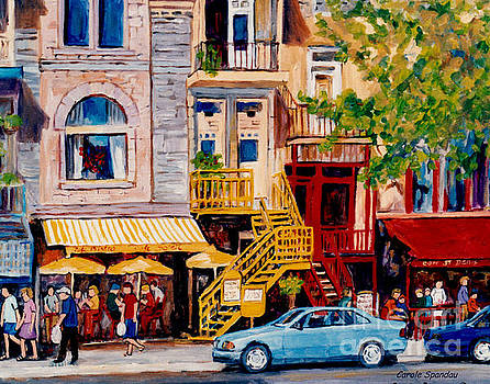 Colorful Paris Style Outdoor Cafes Rue St Denis Canadian Art Montreal Eats C Spandau Quebec Artist by Carole Spandau