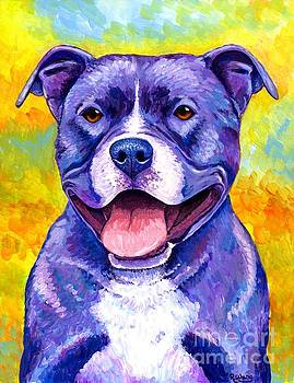 Colorful Pitbull Terrier Dog by Rebecca Wang