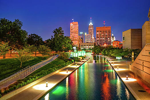 Colorful Skyline From The Indianapolis Canal Walk by Gregory Ballos