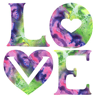 Irina Sztukowski - Colors Of Love Sign Watercolor Silhouette Letters Hearts