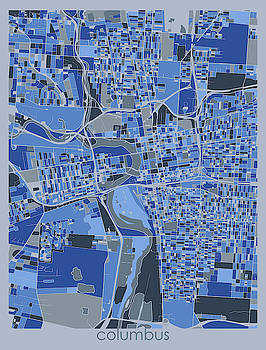 Columbus Map Retro 5 by Bekim M