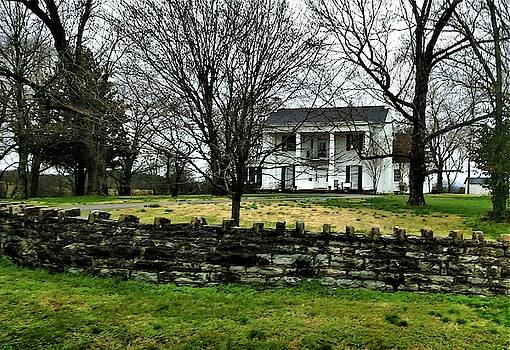 Comer Mansion and Stone Fence by Peggy Leyva Conley