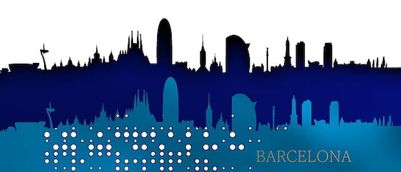 Cool blue Barcelona skyline. by Alberto RuiZ