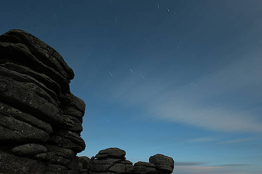 Coombestone Tor Star Trails ii by Helen Northcott