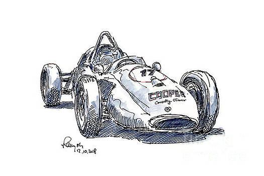 Frank Ramspott - Cooper F1 Historic Racecar Ink Drawing and Watercolor