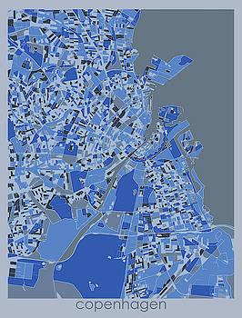 Copenhagen Map Retro 5 by Bekim M