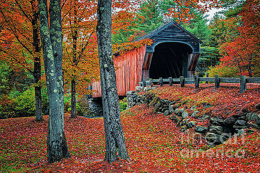 Corbin Covered Bridge Newport New Hampshire Fall 3 by Edward Fielding