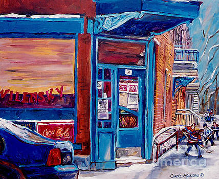 Corner Cafe Clark And Fairmount Wilensky's Winter Scene Habs Hockey Art C Spandau Quebec Artist by Carole Spandau