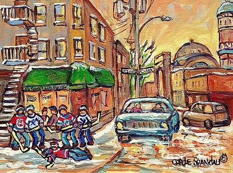 Corner St Viateur And Clark Montreal Winter Street Scene Hockey Art Bishop And Bagg Bistro C Spandau by Carole Spandau