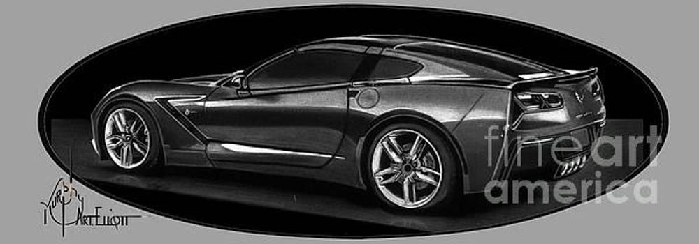 Corvette drawing by Murphy Elliott