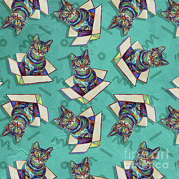 Robert Phelps - Cosmic Psychedelic Party Cat in a Box Pattern