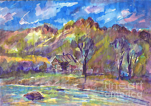 Cottage by the river. Watercolor painting. Summer landscape by Irina Dobrotsvet