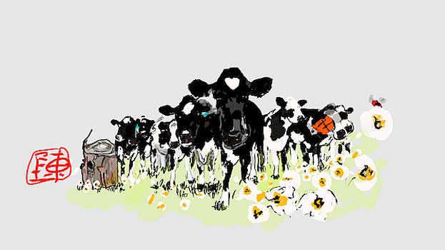 Cows in black and white  by Debbi Saccomanno Chan