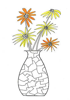 Cracked vase with yellow and orange flowers by Steve Clarke