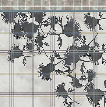 Cream Thistle Plaid Contrast Border by Sand And Chi