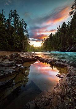 Creekside Sunset / McDonald Creek, Glacier National Park  by Nicholas Parker