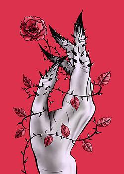 Creepy Hand With Rose And Thorns by Boriana Giormova