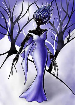 Creepy Woman In Snowy Night Forest by Boriana Giormova