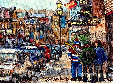 Crescent Street Downtown Stroll After St Patrick Parade Canadiens Hockey Jersey C Spandau Quebec Art by Carole Spandau