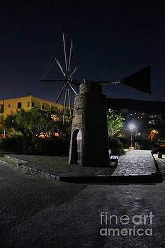Cretan Windmill at Night by Lynn Bolt