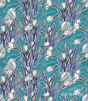 Crocuses pattern, turquoise and white by Julia Khoroshikh