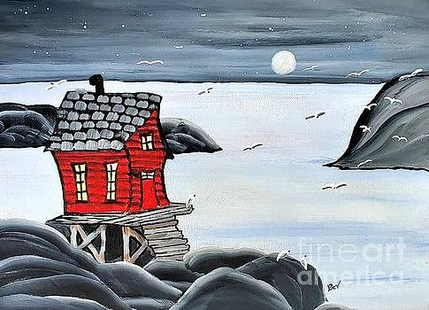 Crooked  Red Fishing Stage by Beverly Livingstone