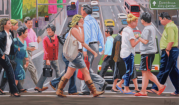 Crosswalk Crowd by Kevin Hughes