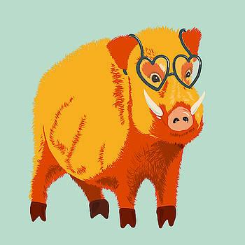 Cute Boar Pig With Glasses  by Boriana Giormova