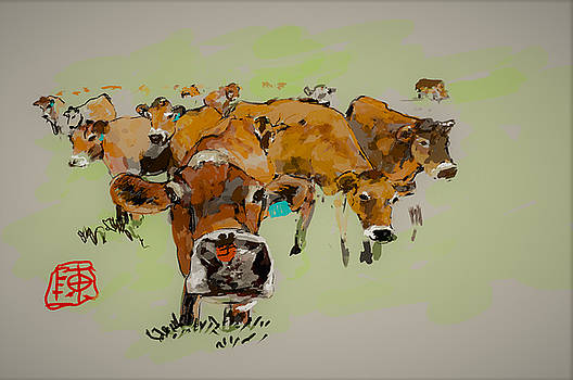 Cute cows by Debbi Saccomanno Chan