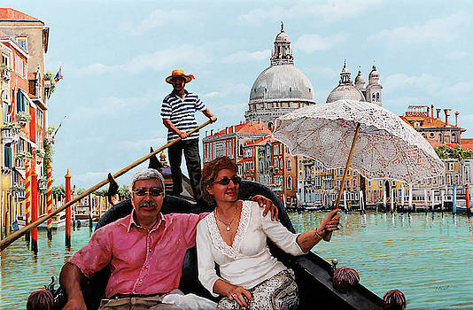 D and his wife in Venice by Guido Borelli