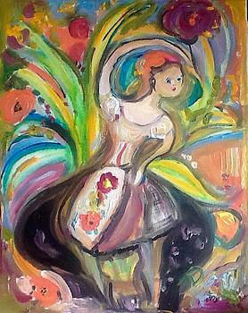 Dancing flower in a black pot  by Judith Desrosiers
