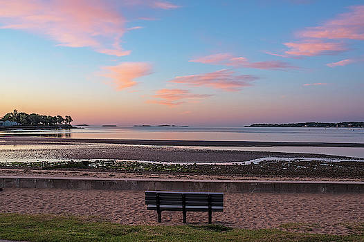 Toby McGuire - Dane Street Beach in Beverly MA Morning Light Red Clouds Bench
