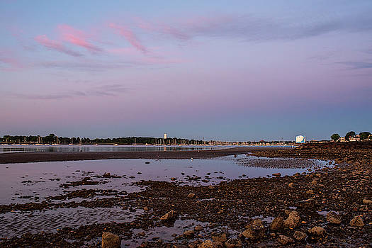 Toby McGuire - Dane Street Beach in Beverly MA Morning Light Red Clouds Water Tower
