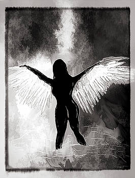 Dark Angel Silhouette by Abstract Angel Artist Stephen K