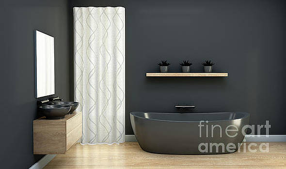 Dark Bathroom Interior by Allan Swart