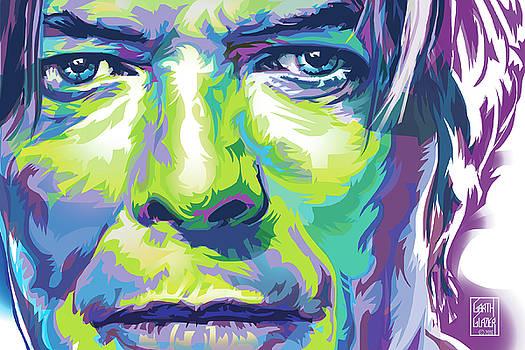 David Bowie Portrait in Aqua and Green by Garth Glazier