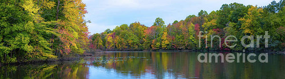 Davidson's Mill Pond Autumn Panorama  by Michael Ver Sprill