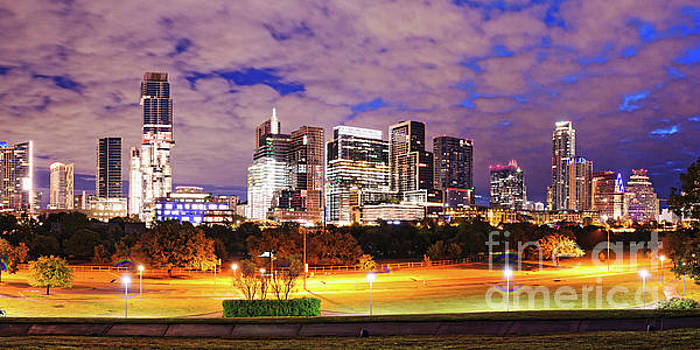 Dawn Panorama of Downtown Austin Skyline and Lady Bird Lake - Austin Texas by Silvio Ligutti