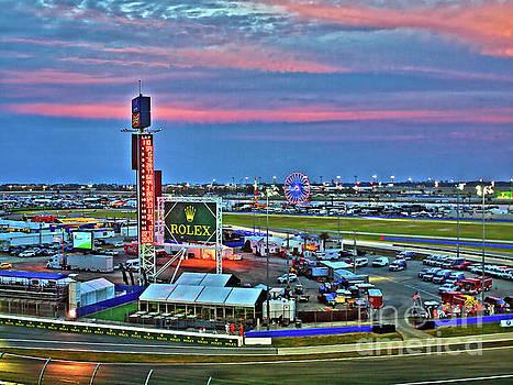 Daytona Speedway at sunset 17ROLEX057 by Howard Stapleton