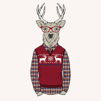 Deer Man Dressed Up In Jacquard by Olga angelloz