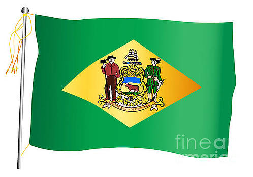 Delaware State Waving Flag And Flagpole by Bigalbaloo Stock