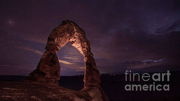 Delicate Arch at night by Randy Kostichka