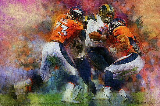 Denver Broncos against Los Angeles Rams by Nadezhda Zhuravleva