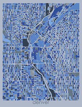 Denver Map Retro 5 by Bekim M