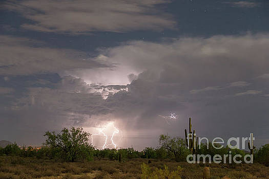 Desert Clouds Lightning and Stars by James BO Insogna