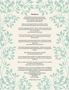 Desiderata Green Leaves by Terry DeLuco