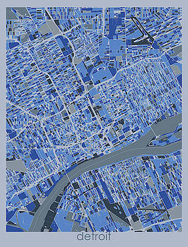 Detroit Map Retro 5 by Bekim M